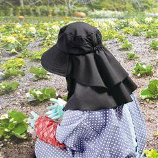 UVロングフリル農園帽子