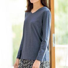 シンプルVネックTシャツ(長袖)(洗濯機OK)