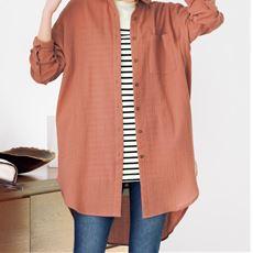 ダブルガーゼロングシャツ(綿100%・洗濯機OK・大きいサイズ)