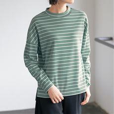ハイネックボーダーTシャツ(長袖)(綿100%・洗濯機OK)