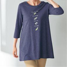 プリントロングフレアTシャツ(7分袖)