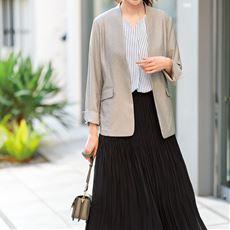【ぽっちゃりさんサイズ】カラーレスジャケット(UVカット・接触冷感・防シワ)