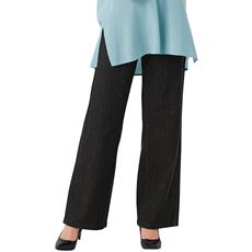 【ぽっちゃりさんサイズ】ニットデニムセミワイドパンツ(スマートニットジーンズ)