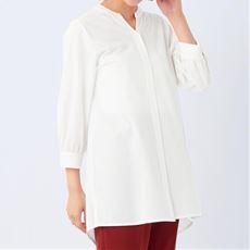【ぽっちゃりさんサイズ】カットソーキーネックチュニックシャツ(7分袖)
