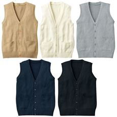 年間使いやすい綿100%前開きベスト(Vネックニット)(洗濯機OK)(スクール・制服)