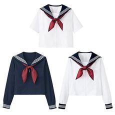 スカーフ付 半袖・長袖セーラー服(洗濯機OK)(スクール・制服)