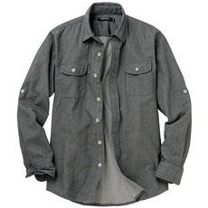 綿100%ツイルロールアップシャツ