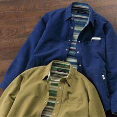 綿100%二重織り裏ボーダー柄シャツジャケット