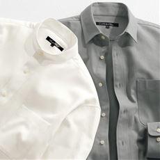 綿100%フレンチツイル・シャツ バンドカラー&レギュラーカラーの2タイプ