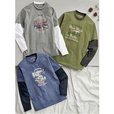フェイクレイヤードプリントTシャツ 安心の綿100%素材