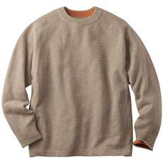 洗える・ウール混ワッフル編みニットセーター