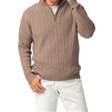ウール混ケーブルニットハーフジップセーター