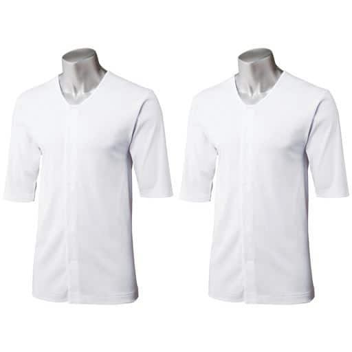 5分袖前開き丸首シャツ(2枚組)