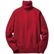 洗える・ウール混ニットハイネックセーター