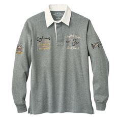 綿100%刺繍使いラガーシャツ