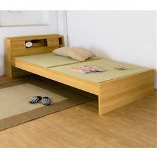 【組立+設置】高さが3段階で調整できる 棚 コンセント 照明 付畳ベッド