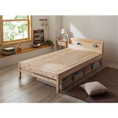 【組立+設置】棚付きひのき細すのこベッド