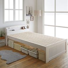 【組立+設置】すのこベッド(棚付き)/高さ3段階調整・2口コンセント付き