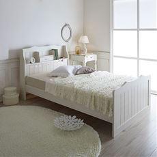 【組立+設置】棚 コンセント 照明付カントリー調お姫様ベッド