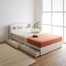 【組立+設置】棚コンセント引出付カントリー調ベッド(マット付)