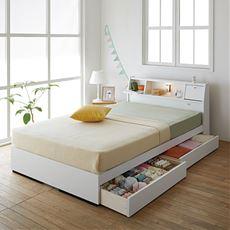 【組立+設置】テーブル照明コンセント仕切り引出し付きベッド