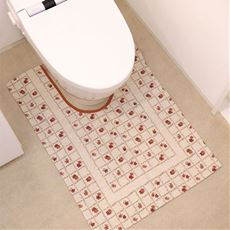 イタリア製ジャカード織トイレマット(フラワー)