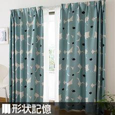 〔形状記憶付き〕北欧フラワー柄遮光プリントカーテン