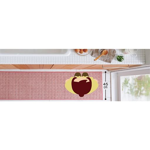 ソフトピンク(横180×縦45cm) 幅45cmの省スペースサイズ。足元にすっきりと敷けます。