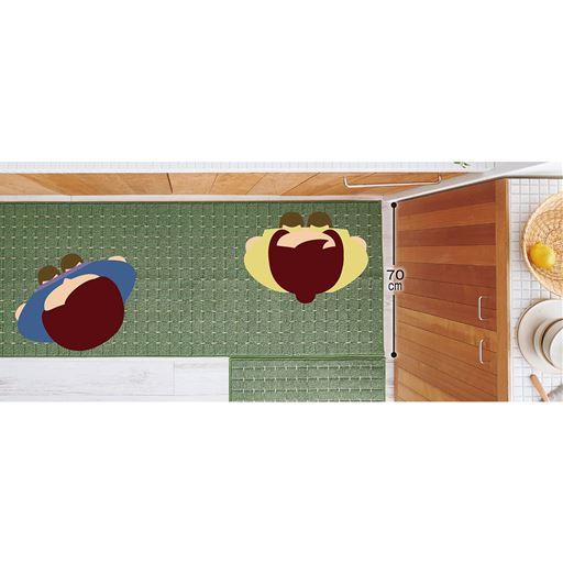 パウダーグリーン(横180×縦70cm)×2 L字や広めのキッチンに合わせて敷ける幅70cmサイズ。気になる水ハネもカバーできます。