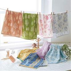 タオルセット(4枚組) 明るい色合いでかわいい北欧柄 普段使いに毎日楽しいタオル。