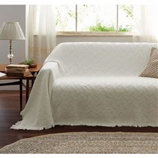 ジャカード織りマルチカバー(ソファカバー・ベッドスプレッド) 肌触りの良いコットンジャカード 明るく魅せる色