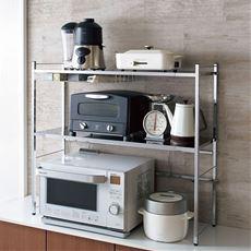 燕三条 幅伸縮キッチン家電ラック カウンター上