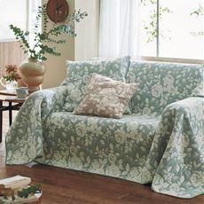 膨れ織マルチカバー(プランタン) 立体的なバラ柄をジャカードで表現 お部屋を素敵な雰囲気に