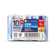 アルカリ乾電池10年保証 単2形6本パック(ELSONIC)