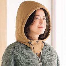 ふんわり暖か中綿入りフードネックウォーマー<美活計画>