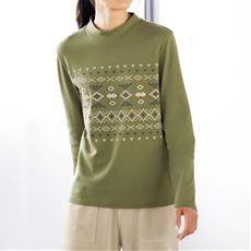あったかプリントハイネックTシャツ(綿100%・蓄熱保温・吸湿発熱・洗濯機OK)