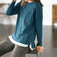 クルーネックTシャツ(長袖)(綿100%・洗濯機OK)