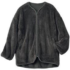 ボアクルーネックジャケット(冷え対策/あったか/洗濯機OK)