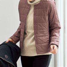 KAPOKポケッタブルノーカラージャケット(機能中わた)(手洗いOK・吸湿発熱・吸放湿性)