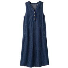 【ぽっちゃりさんサイズ】デニムジャンパースカート(綿100%)
