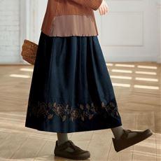 【ぽっちゃりさんサイズ】裾刺しゅう使いスカート