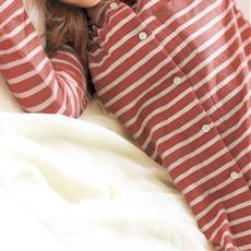 肌側綿100%ニットキルトシャツパジャマ