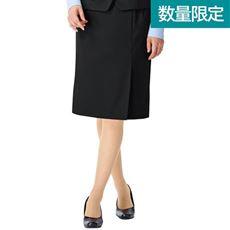 ウール混左前ボックスプリーツスカート(事務服・洗濯機OK)