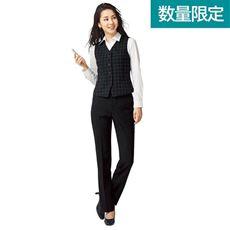 オフィスベストスーツ(ベスト+パンツ)(事務服・ストレッチ素材・洗濯機OK・撥水・形態安定・防汚加工・選べる2レングス)