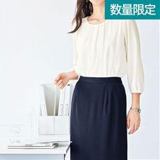 オフィス用ブラウス(7分袖)(洗濯機OK・吸湿発熱機能裏地付き)