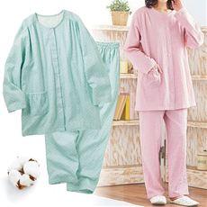 柔らかダブルガーゼの前開きドット柄パジャマ(綿100%)