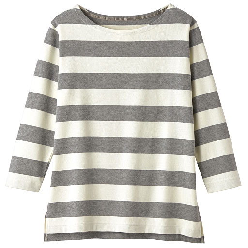 ボートネックボーダーTシャツ(7分袖)