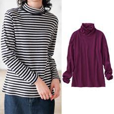 裏起毛ルーズネックTシャツ(M~5L・綿100%)