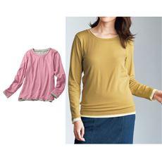 スマートヒート2枚仕立てクルーネックTシャツ(S~5L・静電気防止・吸湿発熱・吸汗速乾)