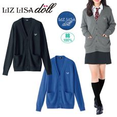 LIZ LISA doll 綿100%Vネックニットカーディガン(スクール・制服)